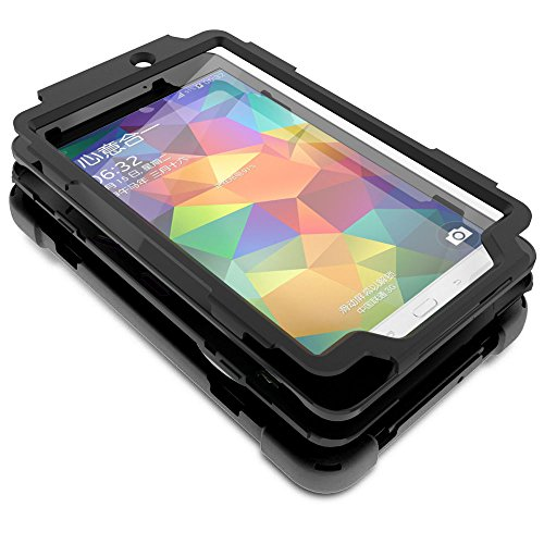 Galaxy Tab E 8.0 Case Cover by KIQ TM Hybrid Protective Shield Case Cover w/ Palm Handstrap for Samsung Galaxy Tab E 8.0 SM-T377 (Shield Black) by KIQ (Image #6)