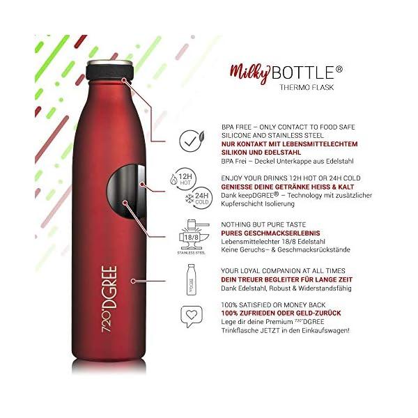 "720°DGREE Borraccia Termica Acciaio Inox ""milkyBottle"" - 350ml, 500ml, 750ml, 1l - Senza-BPA, Isolato Sottovuoto, Doppia… 2 spesavip"