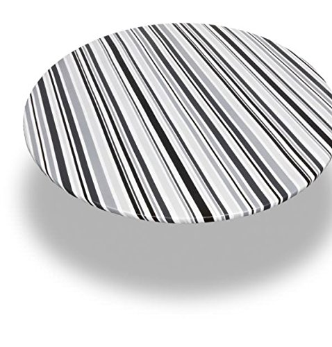 (Royal Bath 60 Inch Round Vinyl Fitted Flannel Backed Tablecloth, Pattern Name: Bohemian Stripe)