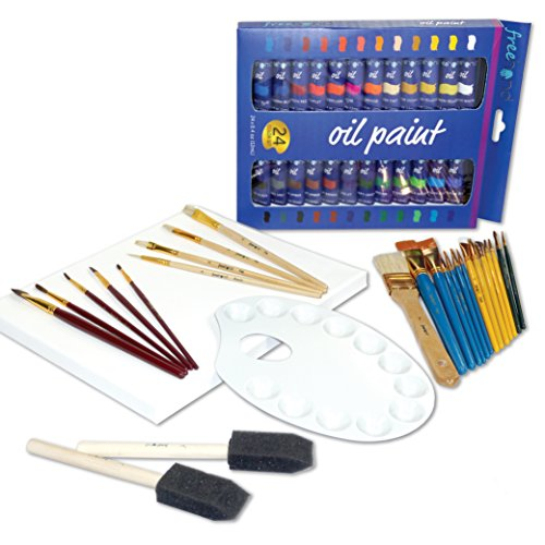 Oil Painting Deluxe Art Set - 24 Oil Paint Set - 25 Paint Brushes - Painting Canvas - Paint Palette - Art Supplies for Teens, Adults & (Deluxe Oil)