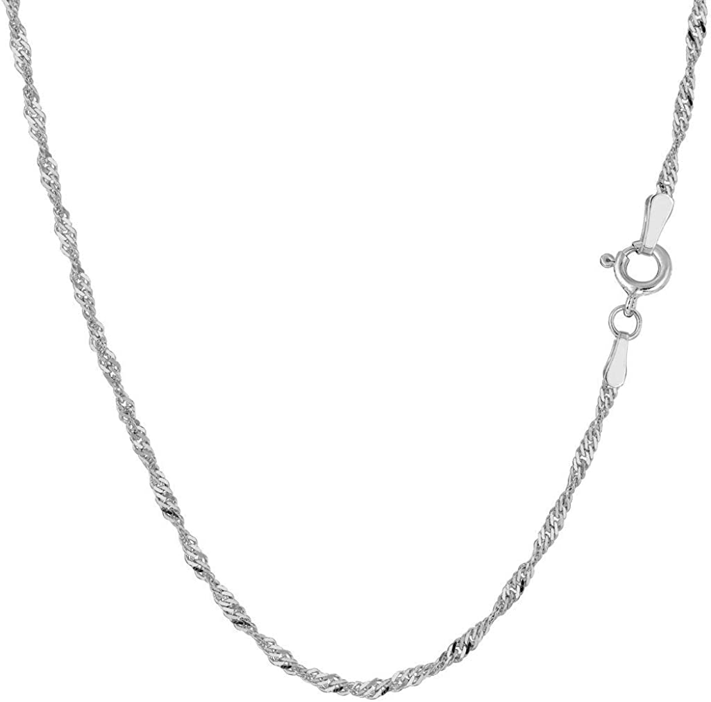 "14K Yellow or White Gold 1.7mm Shiny Diamond-Cut Classic Singapore Chain Necklace for Pendants and Charms with Spring-Ring Clasp (7"" 16"" 18"" or 20"" inch)"