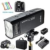 Godox AD200 200Ws 2.4G TTL Flash Strobe Speedlite 1/8000s HSS 2900mAh Battery X1T-C Wireless Flash Transmitter Compatible Canon DSLR Camera