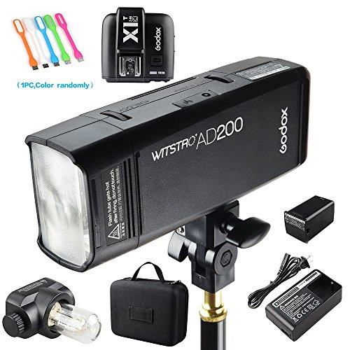 Godox AD200 200Ws 2.4G TTL Flash Strobe Speedlite 1/8000s HSS 2900mAh Battery with X1T-C Wireless Flash Transmitter Compatible for Canon DSLR Camera