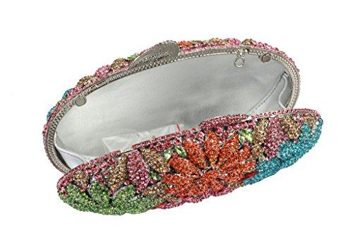 Yilongsheng Frauen Oval Abend Handtaschen mit bunten Diamant Blumen(mehrfarbig)