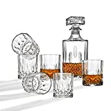 7 piece dispenser set - Whiskey Decanter And Glasses Bar Set, Includes Whisky Decanter And 6 Cocktail Glasses - 7 Piece Set