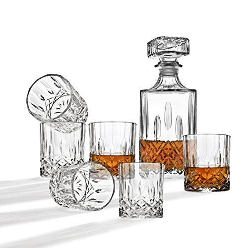 Whiskey Decanter And Glasses Bar Set, Includes Whisky Decanter And 6 Cocktail Glasses - 7 Piece Set by Studio by Godinger