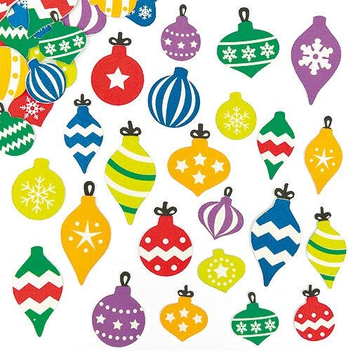 Baker Ross Self-Adhesive Foam Christmas Bauble Decoration Stickers | Kids Holiday Fun Arts and Crafts Project | No Glue or Scissors Needed | Pack of 120 Ornaments
