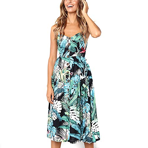 TnaIolral Ladies Dresses Printing Buttons Off Shoulder Sleeveless Princess Swing Green