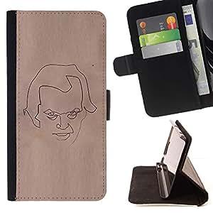Momo Phone Case / Flip Funda de Cuero Case Cover - Cara Bosquejo del papel de Brown Arte Lápiz - Sony Xperia Z5 5.2 Inch (Not for Z5 Premium 5.5 Inch)