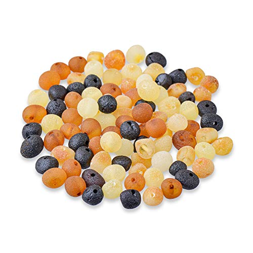 Gumstone 50 Piece Multicolored Amber Beads | 100% All Natural Baltic Amber | Perfect for Teething Necklaces, Bracelets, Handcrafted Jewelry for Natural Remedies, Absorbs Negative Energies