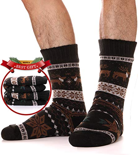 - Mens Slipper Socks Fuzzy Warm Thick Heavy Fleece lined Christmas Stockings Fluffy Winter Socks With Grippers (Black)