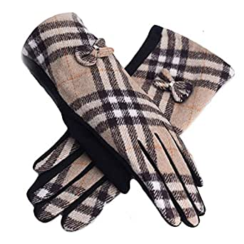 Amazon.com: Womens Winter Gloves Womens Plaid checked