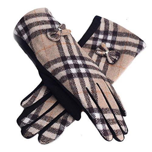 Women's Winter Gloves Tartan Plaid checked Mittens For ...