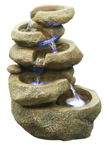 Hi-Line Gift Ltd. Rock 5 Level with LED Lite TableTop Fountain