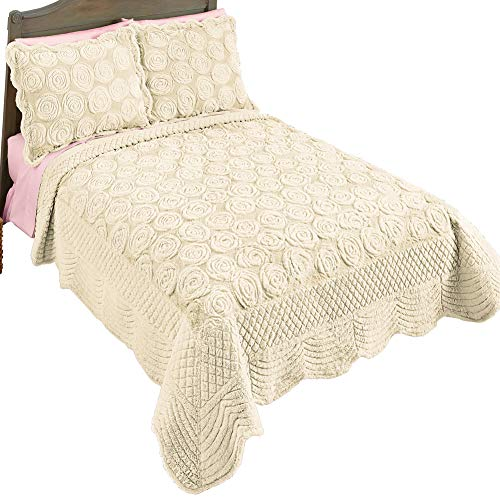 Collections Etc Elegant Faux Fur Rose Quilt - Plush Raised Floral Design, Ivory, King