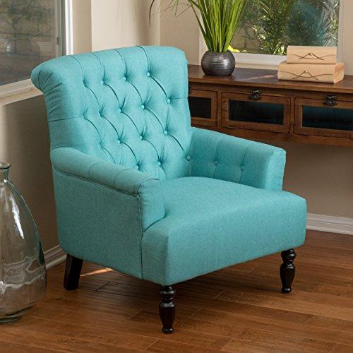 Harvey | Button-Tufted Fabric Club Chair | Teal