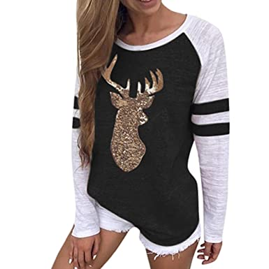 cc25770d Women Christmas Tops,BCDshop Woman Reindeer Blouses Casual T-Shirt Xmas  Long Sleeve (