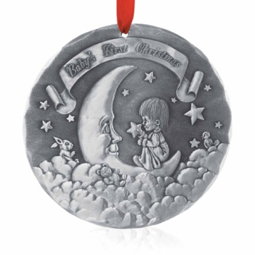 Wendell August Baby's First Christmas Round Ornament, Metal, Handmade in The USA Forge