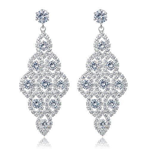 - IDesign Wedding Bridal Earrings Large Long Earrings Cubic Zirconia CZ Glamorous Style Dangle Chandeliers Earrings Rhinestone Dangle Earrings for Wedding Prom Anniversary (Silver)