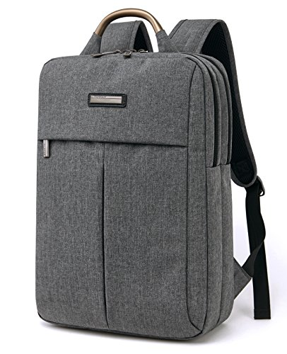 RIONA Travel Laptop Backpack 15.6 Inch Daypack Water Resistant Canvas Briefcase Laptop Bag Tablet for College/Travel/Business/Sports Men&Women(Grey) by RIONA
