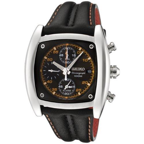 (Seiko Men's SNAB05 Chronograph Black Dial Black Leather Alarm Watch)