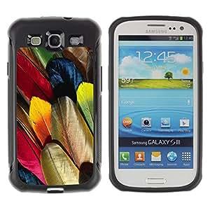 Suave TPU Caso Carcasa de Caucho Funda para Samsung Galaxy S3 I9300 / Feathers Colorful Bird Art Wallpaper Drawing / STRONG