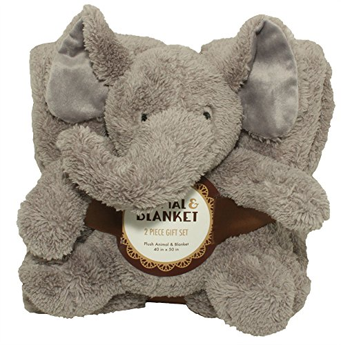 Silver One Sherpa Plush Stuffed Animal and Throw Blanket 2 Peice Gift Set for Kids/Children | 40