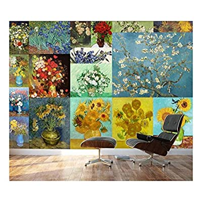 Peel and Stick Wallpapaer Famous Paintings Collage by Vincent Van Gogh Removable Large Wall Mural Creative Wall Decal, Classic Artwork, Beautiful Portrait