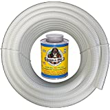 HydroMaxx® 25 Feet x 1 1/2 Inch White Flexible PVC Pipe, Hose and Tubing for Pools, Spas and Water Gardens. Includes Free 4 oz Can of Hot Blue PVC Gorilla Glue!