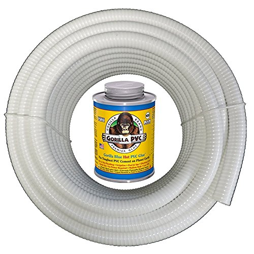 HydroMaxx White Flexible PVC Pipe, Hose, Tubing for Pools, Spas and Water Gardens. Includes Free 4oz Can of Hot Blue PVC Gorilla Glue. (1 1/2