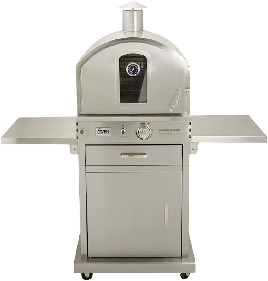 Summerset 'The Oven' Outdoor Freestanding Large Capacity Gas Oven with Pizza Stone, Smoker Box and Mobile Cart, 304 Stainless Steel Construction, Natural Gas