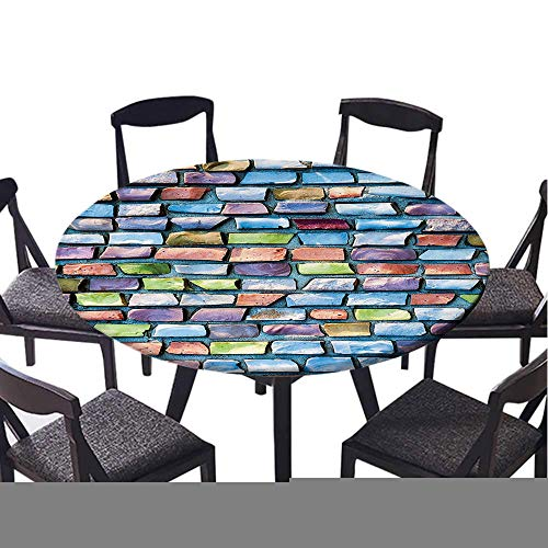SATVSHOP Modern tablecloth-70 Round-Indoor or Outdoor Party,Geometric Colorful Mosaic Textured Sketchy Brick Wall Display Glossy Grid Modern Artwork .(Elastic Edge)