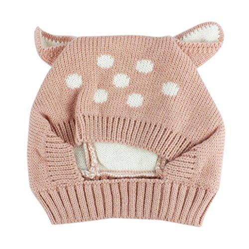 Hot Sale! Baby Boy Girl Warm Knit Earflap Beanie Hat Toddler Newborn Kids Crochet Skull Cap (Pink)