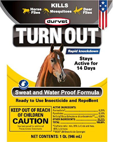 Durvet TURN OUT Insecticide and Repellent for Horses and Dogs. Sweat and Water Proof Formula Stays Active for Up to 14 Days. Spray or Wipe On. Ready-To-Use 32-Ounce Spray Bottle. Made in USA. by TURN OUIT (Image #3)