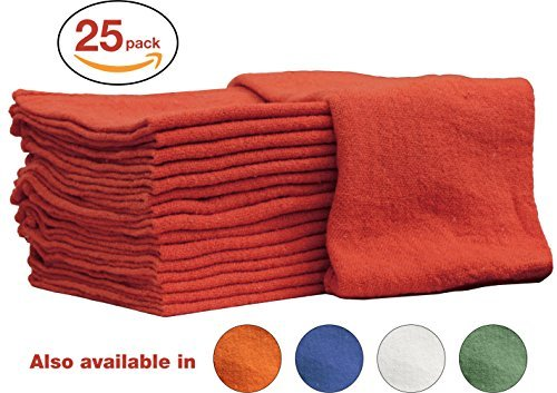 Auto-Mechanic Shop towels, Rags by Nabob Wipers 100% Cotton Commercial Grade Perfect for your Home Garage & Auto Body Shop (12x12) inches, 25 Pack, (Red)