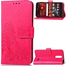 ZTE Grand X4 Case, Abtory Leaf Embossing Design Magentic PU Wallet Case Card Slots Stand Case for ZTE Grand X 4/Z956 KC1 with Wrist Strap Rose