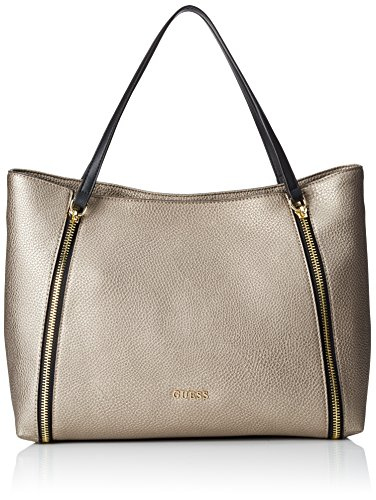 Guess Damen Angie Tote Handtaschen, Gold (Pewter), One Size
