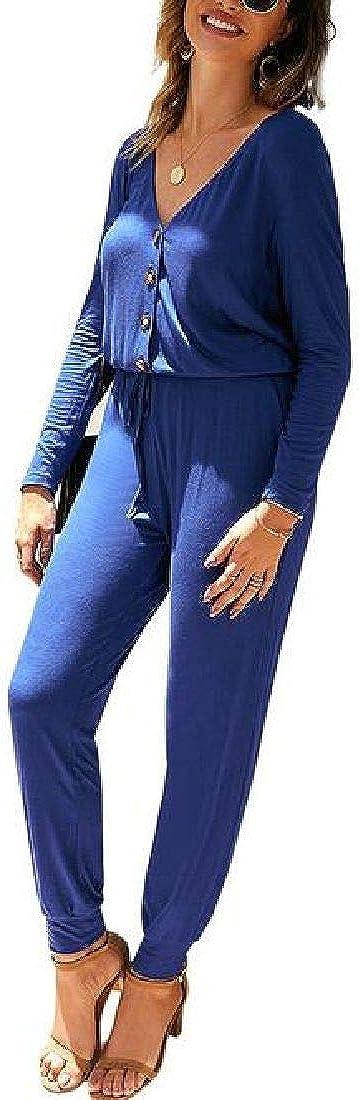 Spirio Womens Button Up V-Neck Casual Long Sleeve Elastic Waist Jumpsuit Romper