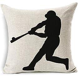 Baseball Club Community Team Athlete Lovers Gift Cotton Linen Throw Pillow Case Cushion Cover Home Sofa balcony Decorative 18'' X 18 '' (5)