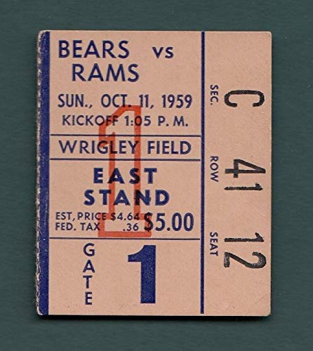 (1959 Chicago Bears vs. Los Angeles Rams Ticket Stub Wrigley Field)