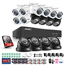 ANNKE 16 Channel Video Security System 1080P Lite DVR and (16) 720P Weatherproof HD Cameras, Indoor & Outdoor, Super Day Night Vision, Motion Detection & Email Alert with Images, 2TB HDD