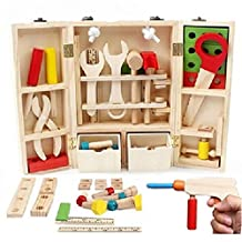 Children Repair Tools Wrench Toy Set Pretend Play,Solid Safety Wooden Tools, Role Play Set