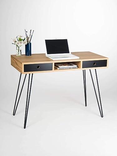 Home Office Desk Industrial Small Table Bureau With Black Drawers Mid Century Modern Oak Wood Steel Metal Hairpin Legs Amazon Co Uk Handmade