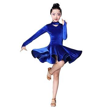 Yocobo Abito da Ballo Kids Girls Latin Dance Dress Velluto Rumba Samba  Ballroom Dancewear Stage Professionale fb18332d223