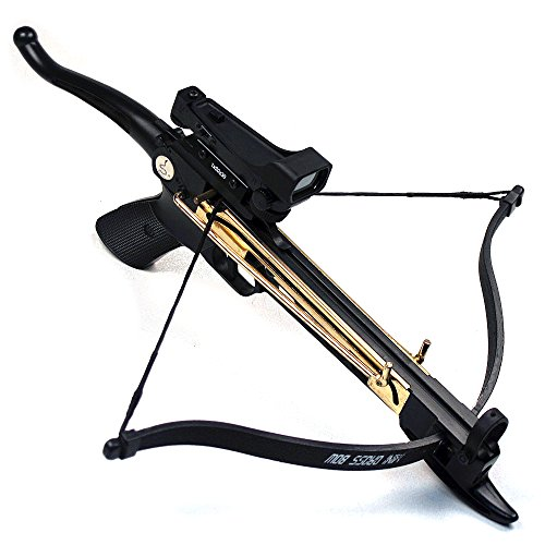 (Ace Martial Arts Supply Cobra System Self Cocking Pistol Tactical Crossbow, 80-Pound (Red Dot Scope with 39 Arrows and 2 Strings))