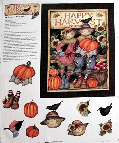 Susan Winget Harvest Scarecrow Couple Craft Fabric Sold By the Panel