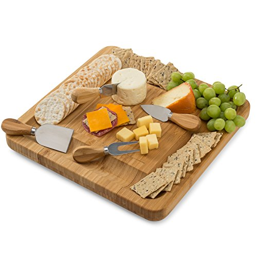 Bamboo Cheese Board Set With Cutlery In Slide-Out Drawer Including 4 Stainless Steel Knife and Serving Utensils by Artisware (Image #1)