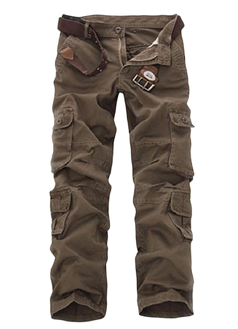 YUNY Men Big and Tall Straight Cotton Multi Pockets Combat Work Pant Coffee 35