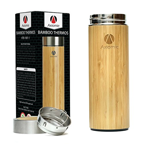 AXIOMIE Bamboo Thermos | Hot and Cold Beverages Carrier, Cof