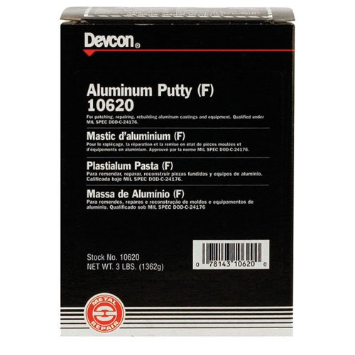 DEVCON Aluminum Putty (F) Non-rusting, cures to aluminum finish - MODEL : 10620 Container Size: 3 lbs.